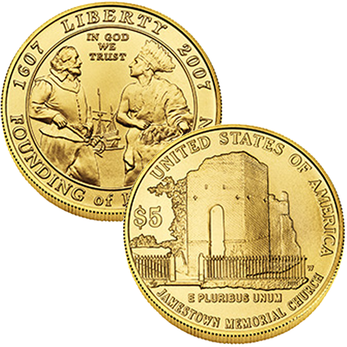 2007-W $5 Jamestown Commemorative Uncirculated Gold Coin