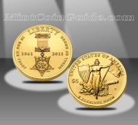2011 $5 Medal of Honor Commemorative Uncirculated Gold Coin (US Mint images)